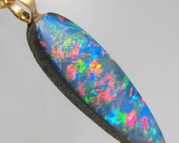 Australian Genuine Opal Pendant 14k Gold Doublet 2.95ct