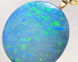 Large Australian Opal Pendant Genuine 14k Gold Doublet 12.35ct