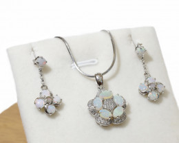 925 ST/ SILVER RHODIUM PLATED OPAL COOBER PEDY JEWELRY SET  [FE1]