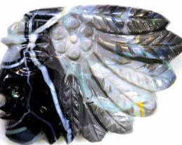 34.35 CTS BLACK  OPAL CARVING   LO-5946