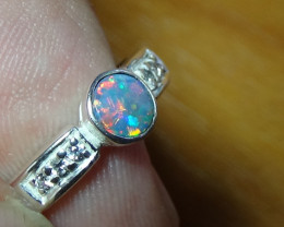 Australian Opal Silver Ring Size 7  With Cubic Zirconia's *