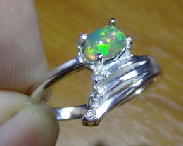 13.80 ct  STUNNING WELO OPAL STERLING SILVER RING WITH CUBIC ZIRCONIA