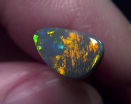 TOP TOP GEM !1.45ct Lighting Ridge Solid Black Opal Muitiple Gem colors