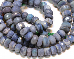 91.50 CTS  L RIDGE BLACK  OPAL FACETED BEADS STRAND TBO-A1323
