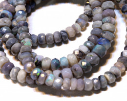 47.40 CTS  L RIDGE BLACK  OPAL FACETED BEADS STRAND TBO-A1324