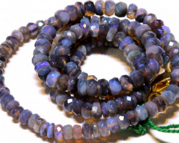 45.25 CTS  L RIDGE BLACK  OPAL FACETED BEADS STRAND TBO-A1327