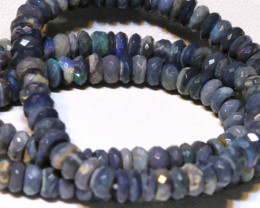 84.85  CTS  L RIDGE BLACK  OPAL FACETED BEADS STRAND TBO-A1331