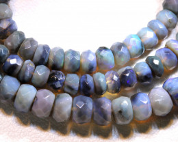 53.95 CTS  L RIDGE BLACK  OPAL FACETED BEADS STRAND TBO-A1330