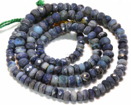 56.85 CTS  L RIDGE BLACK  OPAL FACETED BEADS STRAND TBO-A1342