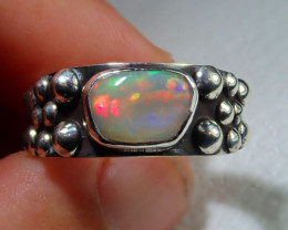 8.7sz Natural Ethiopian Welo Opal .925 Sterling Silver Ring