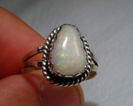 8.2sz Natural Ethiopian Welo Opal .925 Sterling Silver Ring