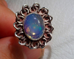 8.2sz Mexican Opal .925 Sterling Silver Ring