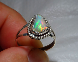 8sz Natural Ethiopian Welo Opal .925 Sterling Silver Ring