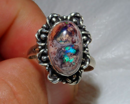 8.5sz Natural Mexican Cantera Opal .925 Sterling Silver Ring