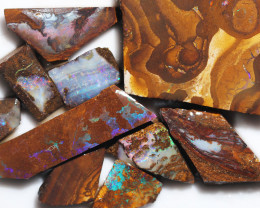 292 cts Parcel 10 Boulder Opals rubbed  By Opal Miner  code  CH 340