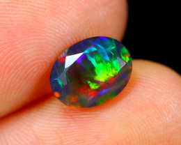 1.11cts Natural Ethiopian Faceted Smoked Black Opal / HM108