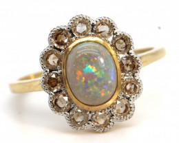 14.15CTS SOLID OPAL DIAMOND AND GOLD ART DECO RING OF-1926