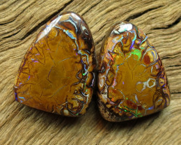 19cts, BOULDER MATRIX OPAL~PATTERN PAIR.