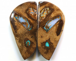 53.85 CTS   BOULDER WOOD FOSSIL OPAL PAIR  NC-7617