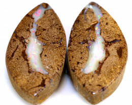 33.06 CTS    BOULDER WOOD FOSSIL OPAL PAIR   NC-7619