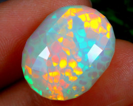 GIA HONEYCOMB 13.11cts Ethiopian Welo Faceted Opal / CR1310