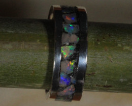Coober Pedy OPAL CHIPS 925 Silver Ring    [28342]