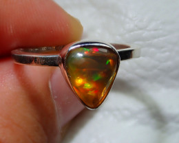 8.7sz Natural Ethiopian Welo Opal Specimen  .925 Sterling Silver Ring