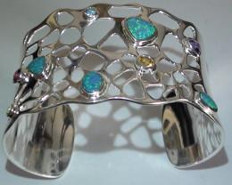 160 ct 925 Stunning Solid Silver Gem Blue Green Crystal Opal Bracelet *