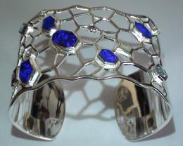 215.90 ct 925 Stunning Solid Silver Gem Blue Crystal Opal Bracelet *