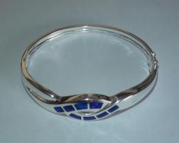 80.35 ct 925 Stunning Solid Silver Gem Blue Crystal Inlay Opal Bracelet *