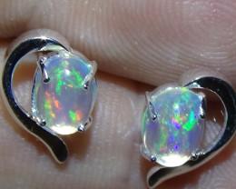 7.40 ct  Woman Ethiopian Solid Crystal Opal 925 Silver Stud Earrings *