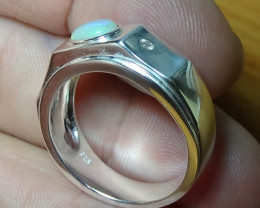 Welo Opal Sz 10.25 Men's Silver Ring With Cz's