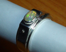 Sz 10.25 Men's Opal Sterling Silver Ring With Cz's