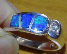 OPAL SIZE 6.75 AUSTRALIAN OPAL INLAY WOMENS RING WITH CUBIC ZIRCONIA *
