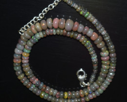 ETHIOPIAN OPAL BEADS NECKLACE BEADS STERLING SILVER  OBJ-129