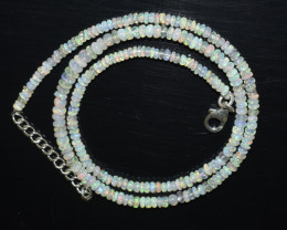 OPAL NECKLACE MADE WITH NATURAL ETHIOPIAN BEADS STERLING SILVER OBJ-130