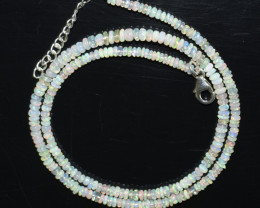 OPAL NECKLACE MADE WITH NATURAL ETHIOPIAN BEADS STERLING SILVER OBJ-132