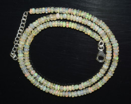 OPAL NECKLACE MADE WITH NATURAL ETHIOPIAN BEADS STERLING SILVER OBJ-134