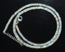OPAL NECKLACE MADE WITH NATURAL ETHIOPIAN BEADS STERLING SILVER OBJ-136