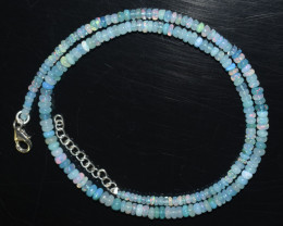 ETHIOPIAN OPAL BEADS NECKLACE BEADS STERLING SILVER TREATED OBJ-137