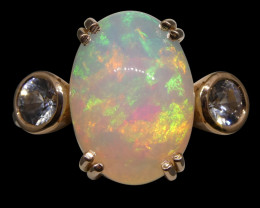 4.88ct Opal & Sapphire Ring in 14kt Rose/Pink Gold