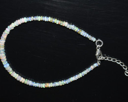 12.35 CT OPAL BRACELET MADE OF NATURAL ETHIOPIAN BEADS STERLING SILVER OBB5
