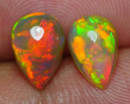 2.035 CRT GORGEUS PAIR BROADFLASH RED FIRE COLOR WELO OPAL*