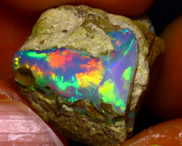 11.35Ct Multi Color Play Ethiopian Welo Opal Rough JF1801/R2