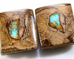 33.80 CTS BOULDER WOOD FOSSIL PAIR NC-7734