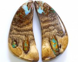 35.45 CTS BOULDER WOOD FOSSIL PAIR NC-7741