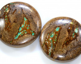 53.85 CTS BOULDER WOOD FOSSIL PAIR NC-7743