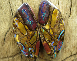 80cts, BOULDER MATRIX OPAL~WONDERFUL PAIR.