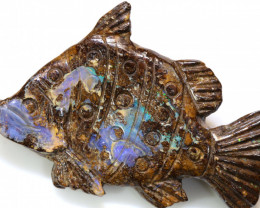 39.53CTS BOULDER FISH OPAL CARVING LO-4011