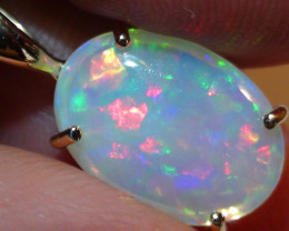 Opal Womens 14K Solid Yelllow Gold Crystal Opal Pendant With Diamond